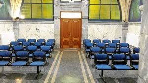 Sala adyacente al crematorio del Cementerio de Derio.